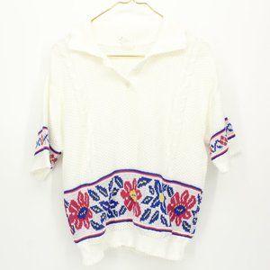 Vintage White Short Sleeve Sweater Flower Detail